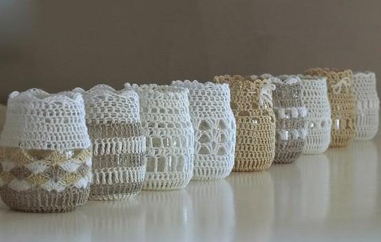 frascos con crochet como souvenirs para boda