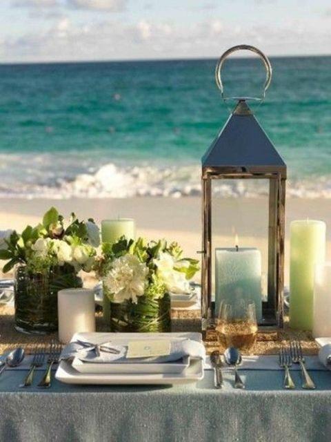 centro de mesa para boda en la playa