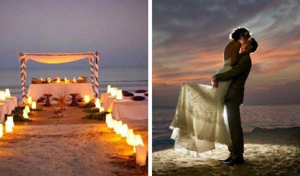 boda en la playa de noche